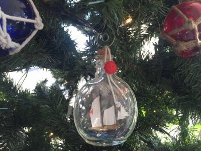Bluenose Sailboat in a Glass Bottle Christmas Ornament 4""