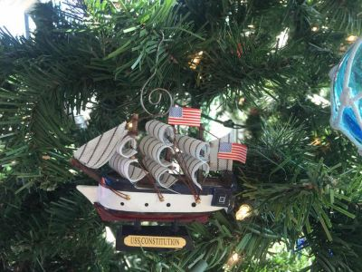 Wooden USS Constitution Tall Model Ship Christmas Ornament 4""