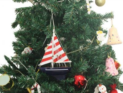 Wooden Nautical Delight Model Sailboat Christmas Tree Ornament