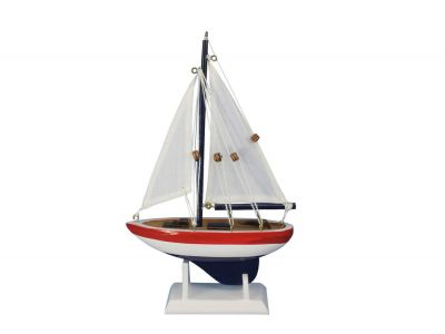 Wooden USA Sailer Model Sailboat Decoration 9""