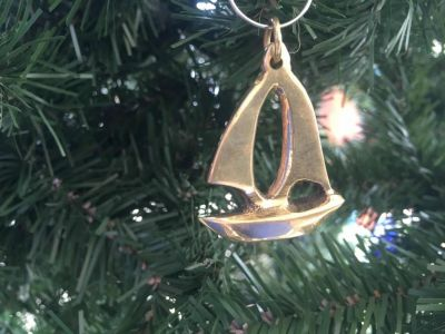 Solid Brass Sailboat Christmas Ornament 5""
