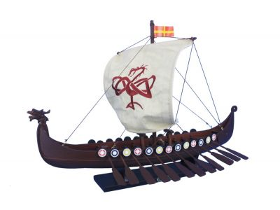 Wooden Viking Drakkar with Embroidered Serpent Model Boat Limited 24""