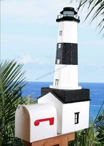 Montauk Solar Powered Stucco Lighthouse Mailbox 36