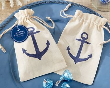 Set of 12 - Anchor Muslin Favor Bags 6