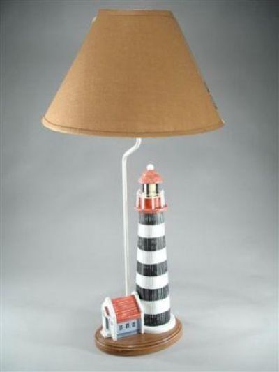 Nantucket Lighthouse Electric Lamp with Tan Shade 32