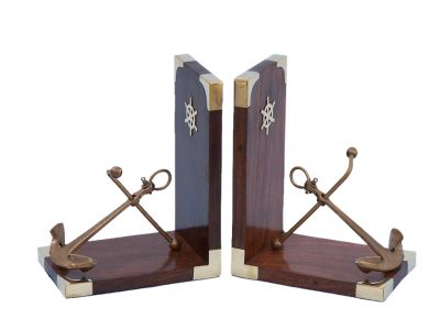 Set of 2 - Antique Brass Anchor Book Ends 6""