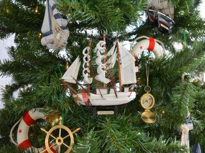 United States Coast Guard USCG Eagle Model Ship Christmas Tree Ornament