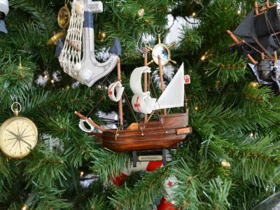 Wooden Santa Maria Model Ship Christmas Tree Ornament