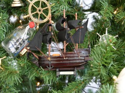 Wooden Caribbean Pirate Ship Model Christmas Tree Ornament