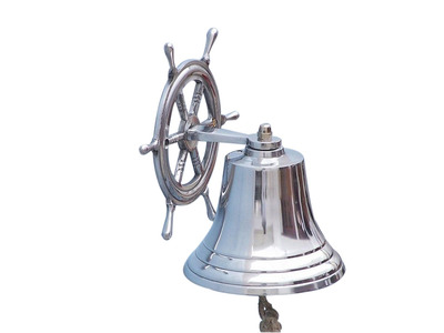 Chrome Hanging Ship Wheel Bell 8