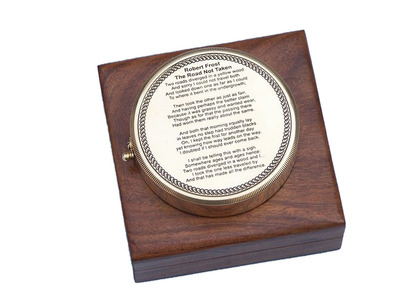 Brass Robert Frost Poem Compass 4\