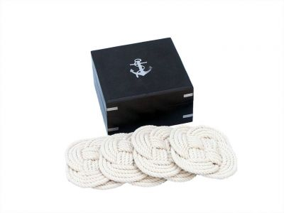 "Rope Coasters with Black Rosewood Box 4"" – set of 4"