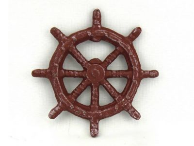 Red Whitewashed Cast Iron Ship Wheel Bottle Opener 3.75\