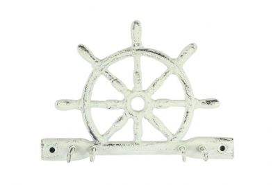 Whitewashed Cast Iron Ship Wheel With Hook 8\