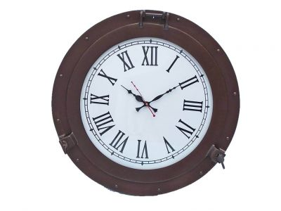 Bronzed Deluxe Class Porthole Clock 17\