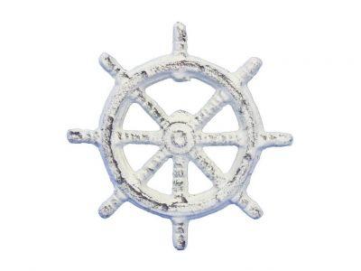 Whitewashed Cast Iron Ship Wheel Bottle Opener 3.75\
