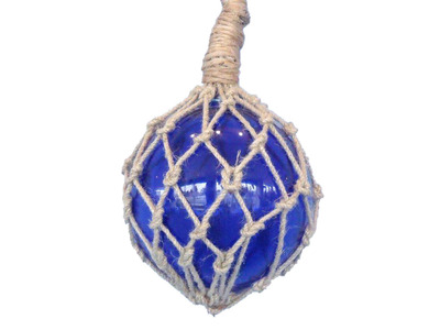 Glass and Rope Blue Fishing Float 10