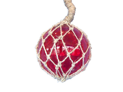 Glass and Rope Red Fishing Float 6