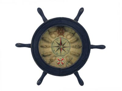 Wooden Rustic Dark Blue Ship Wheel Knot Faced Clock 12\