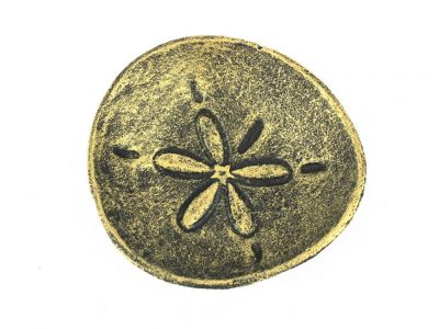 Antique Gold Cast Iron Sand Dollar Decorative Plate 6""