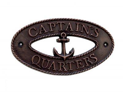 Antique Copper Captain\'s Quarters Sign 9\