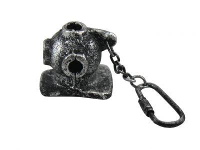 """Antique Silver Cast Iron Diver Helmet Key Chain 5"""""""