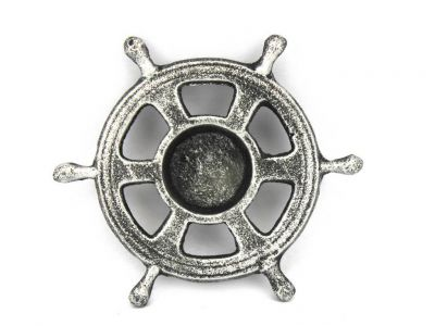 Antique Silver Cast Iron Ship Wheel Decorative Tealight Holder 5.5\