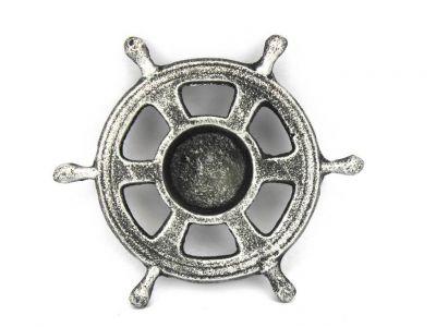 Antique Silver Cast Iron Ship Wheel Decorative Tealight Holder 5.5\