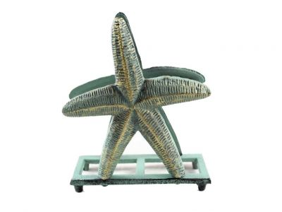 Antique Bronze Cast Iron Starfish Napkin Holder 6\
