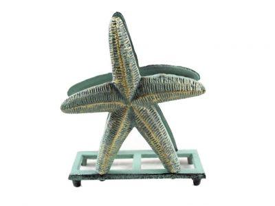 Antique Bronze Cast Iron Starfish Napkin Holder 6\