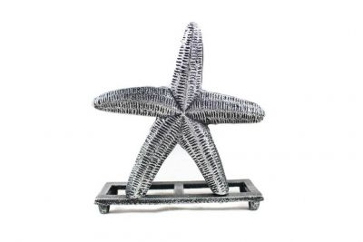 Antique Silver Cast Iron Starfish Napkin Holder 6""