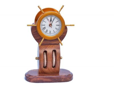 Solid Brass Ship Wheel Clock on Wooden Pulley 12