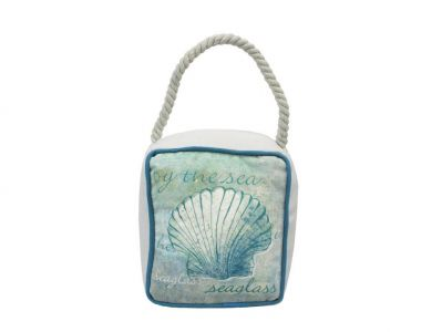 Ocean Blue Seashell Sandbag Door Stop 6""