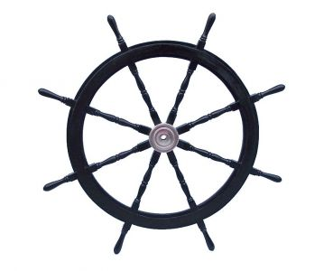 Deluxe Class Wood and Chrome Pirate Ship Steering Wheel 60