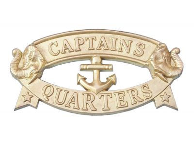 Solid Brass Captain\'s Quarters Sign 9""