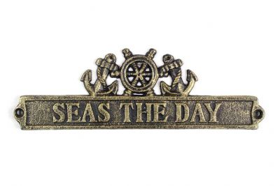 Antique Gold Cast Iron Seas the Day Sign with Ship Wheel and Anchors 9""