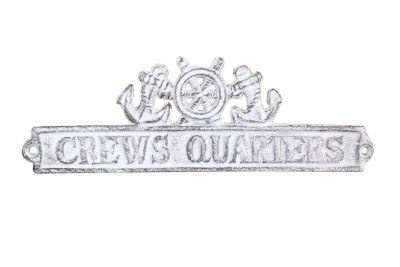 Whitewashed Cast Iron Crews Quarters Sign with Ship Wheel and Anchors 9""