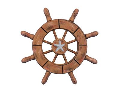 Rustic Wood Finish Decorative Ship Wheel With Starfish 6\