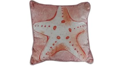 Red and White Starfish Decorative Throw Pillow 10""
