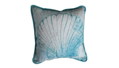 Light Blue and White Seashell Decorative Throw Pillow 10