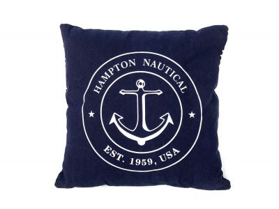 Decorative Blue Hampton Nautical with Anchor Throw Pillow 16""