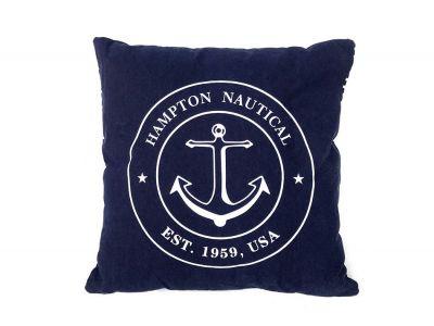 Decorative Blue Hampton Nautical with Anchor Throw Pillow 16\