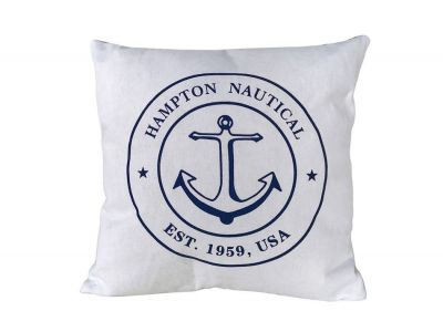 Decorative White Hampton Nautical with Anchor Throw Pillow 16""
