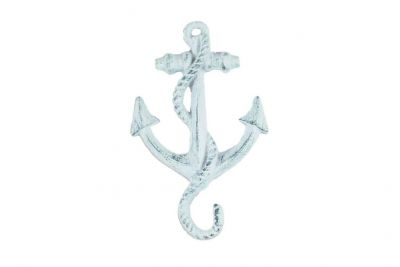 Dark Blue Whitewashed Cast Iron Anchor Hook 5\