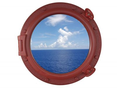 Dark Red Porthole Window 20