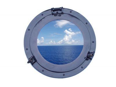 Brass Deluxe Class Porthole Window 15 - Dark Blue
