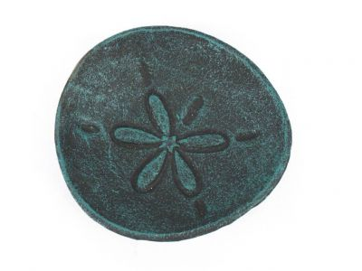 Seaworn Blue Cast Iron Sand Dollar Decorative Plate 6""