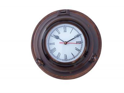 Antique Brass Porthole Clock with Rosewood Base 10\
