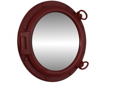 Dark Red Porthole Mirror 20