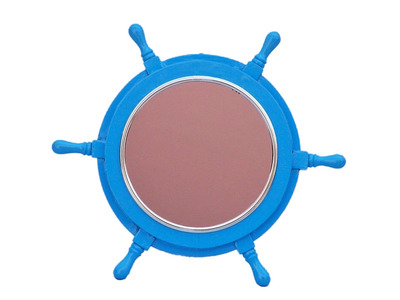 Deluxe Class Light Blue Wood and Chrome Ship Wheel Mirror 16